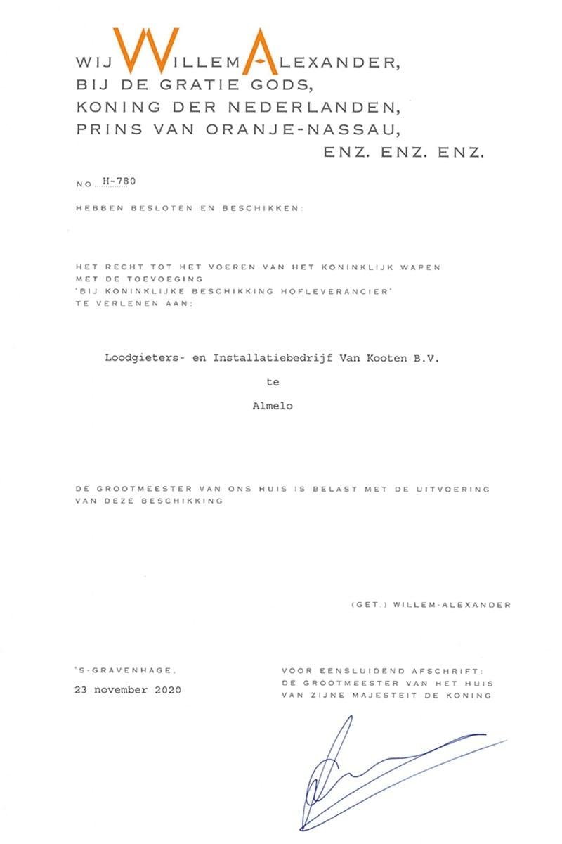 Van Kooten - Bij Koninklijke beschikking hofleverancier